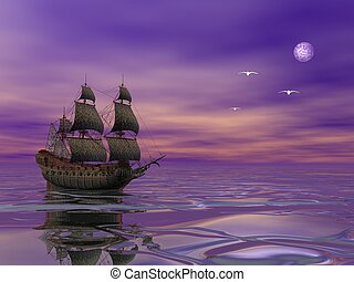 Flying Dutchman, pirate ship sailing in the moonlight next...