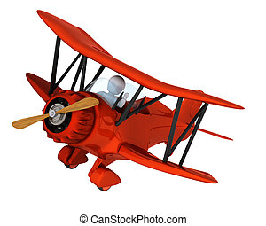 man flying a vintage biplane - 3D render of a man flying a...