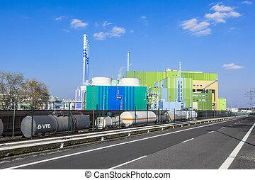 buildings of an Industry Park in beautiful landscape near...