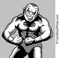 Body building - beautiful comic ink drawing style, for gym...