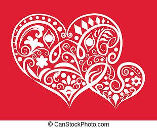 Decorative two hearts - two hearts ornament symbol,...