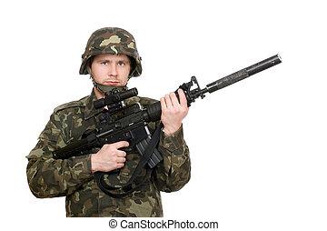 soldat, tenue,  M16