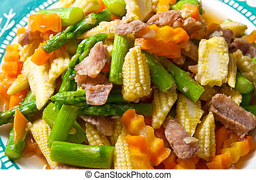 Food - Stir-fried vegetables with porks