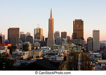 San Francisco downtown at sunset