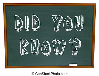 Did You Know Words on Chalkboard Information Knowledge - The...