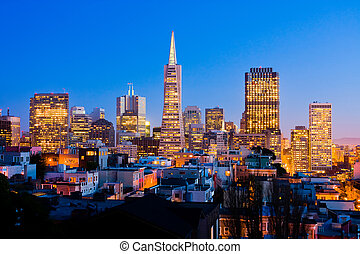 San Francisco downtown at night