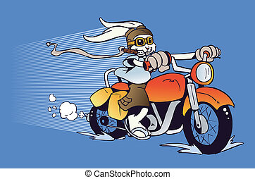 Motorized cartoon Easter Bunny - One rabbit mounted on a...