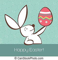 Easter bunny with painted egg - One Easter bunny with...