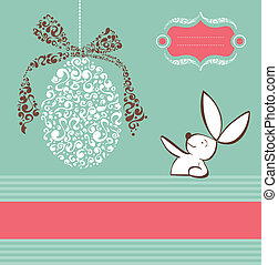 Tribal egg and Easter bunny background