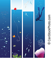 Marine life - Collection of vector illustrations on the...