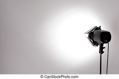 studio light - empty studio background and flash light on...
