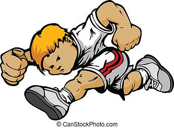 Cartoon Running Boy Vector Cartoon - Running Youth Athlete...