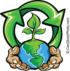 Hands Holding Planet Earth - Cartoon Vector Image of a Hands...
