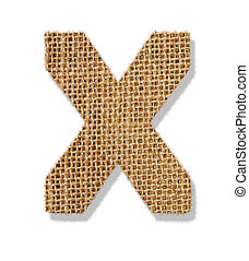 "The letter ""X"" is made of coarse cloth."