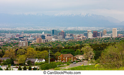 Salt Lake City, Utah - Aerial view of Salt Lake City