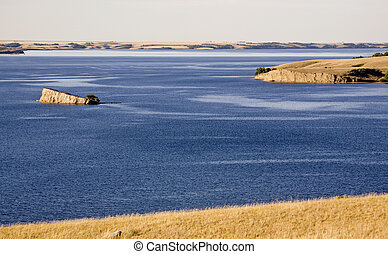 Diefenbaker Lake Saskatchewan deep blue river Canada