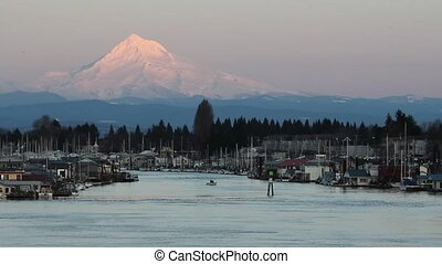Waterfront Living with Mount Hood View in Winter along...
