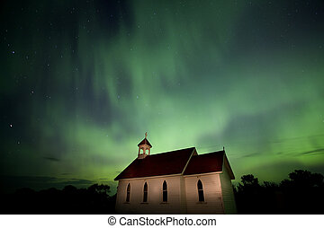 Country Church and Northern Lights