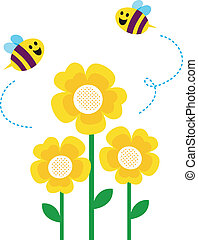 Cute little bees flying around flowers - Bees and yellow...