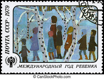 USSR - CIRCA 1979 Excursion - USSR - CIRCA 1979: A Stamp...