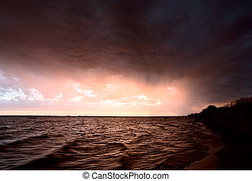 Storm over Lake Diefenbaker Saskatchewan Canada sunset