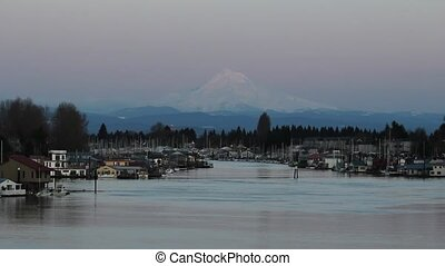 Mount Hood along Columbia River in Portland Oregon