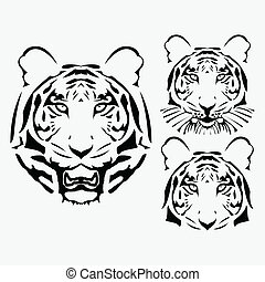 the vector abstract tiger head set illustration