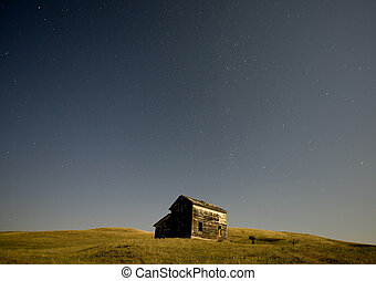 Night Shot Abandoned house star trails Canada