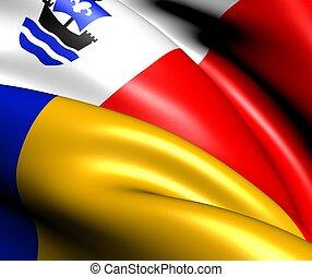 Flag of Almere, Netherlands. Close Up.