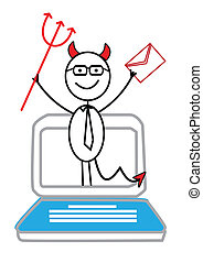 email, Notebook   red devil