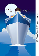 Cruise Ship Liner - Illustration of a Cruise Ship Liner