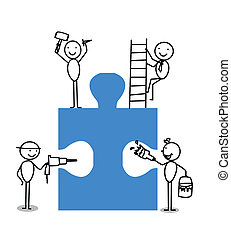 Businessman Teamwork Jigsaw