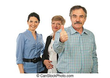 Successful business group - Mature business man giving thumb...