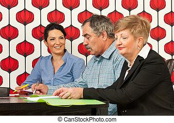 conversación, teniendo, empresa / negocio, gente