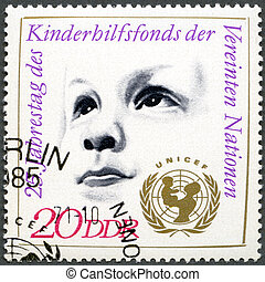 GERMANY - 1971: shows Childrsquo;s Head and UNICEF Emblem,...