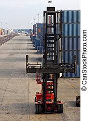 elevación, máquina, contenedor, área