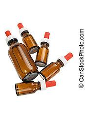 Bottles of Massage Oil on White Background