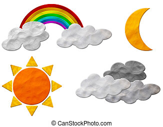 Weather plasticine craft stick on white background