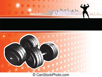 passion of bodybuiling - illustration of the dumbbell