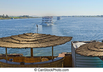 The view on the Nile sailing boats (hotels). Egypt