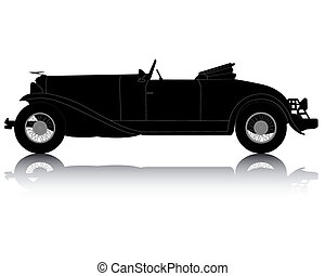 black silhouette of an old convertible