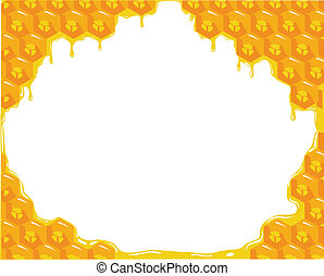 Orange background about honeycombs. Vector - the orange...