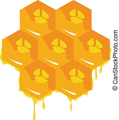 Orange background about honeycombs Vector - the orange...