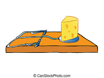 vector mousetrap with cheese - trap - Abstract vector...
