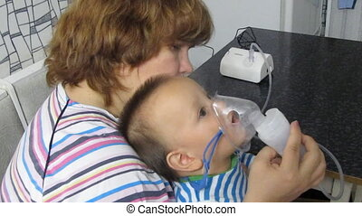 inhalation  - boy with inhalation mask
