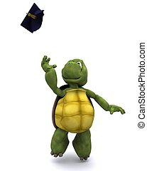 tortoise celebrating graduation - 3d render of a tortoise...