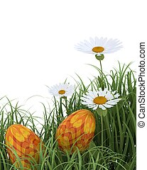easter eggs in spring flowers