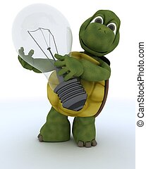 tortoise holding a light bulb - 3D render of a tortoise with...