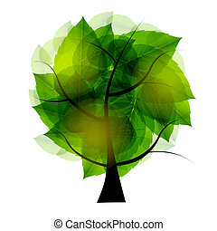 Tree with green leaves. Vector illustration.