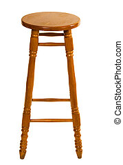 Tall wooden chair on white background